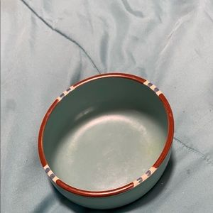 """Dansk Mensa Turquoise and Brown 5 7/8"""" W Soup Bowl"""